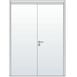 Double Steel Doors with Lever Handle