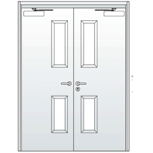 Double Steel Doors with Levers Vision Panels and Closers