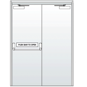 Double Steel Doors with Single Point Panic Bar and Closers